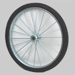 "26"" Pair Polyurethane, Complete Wheel 22 Heavy Duty Welded 1/4"" Spokes 2 rims,"